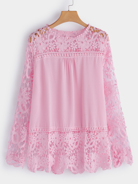 Plus Size Pink See-through Lace Top