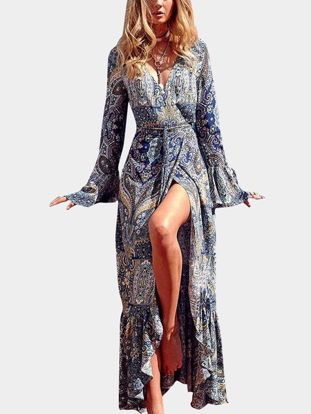 Boho Style Floral Print V Neck Long Sleeves Maxi Dresses with Belt