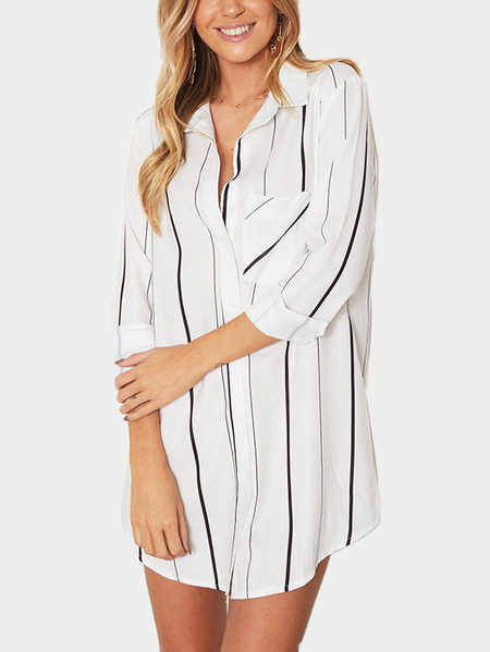 White Stripe Shirt with Irregular Hem