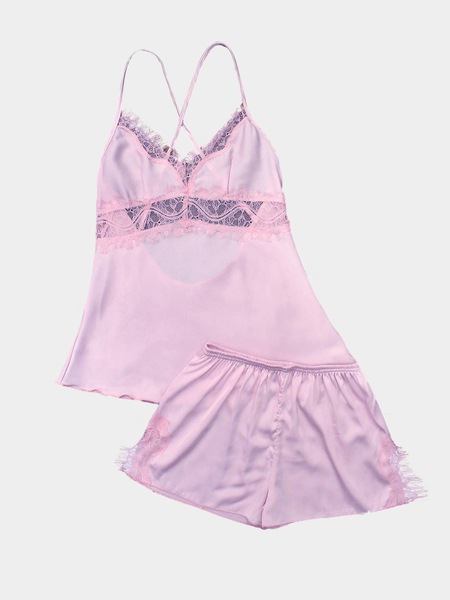 Pink Lace Details Pajamas Suit with Imitation Silk Material