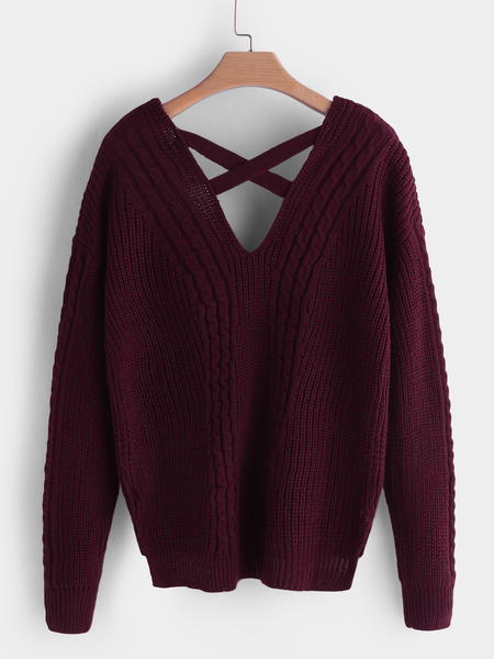 Burgundy V-neck Long Sleeves Sweaters