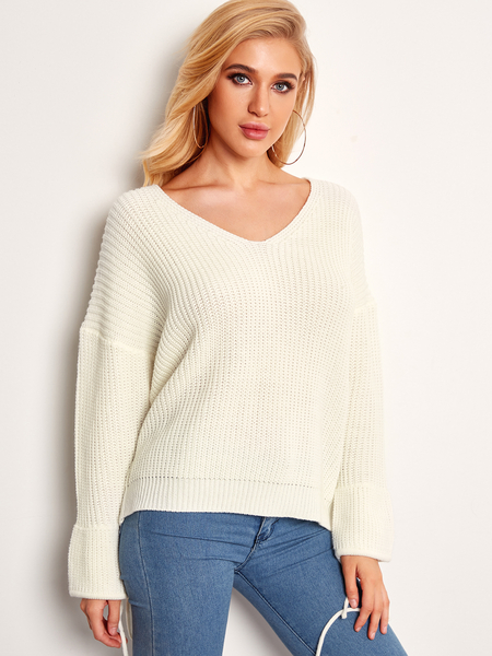 White V-neck Winter Fashion Women Sweaters