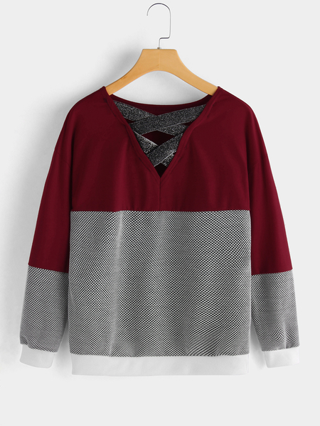 Red Color Block Lace-up Back Design Plain Round Neck Long Sleeves Stripe Sweaters