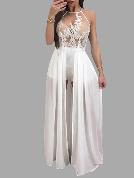 White See-through Lace Details Halter Party Dress