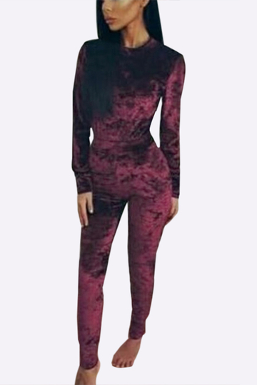 Burgundy Velvet Crew Neck Top & Pants Co-ords With Pockets