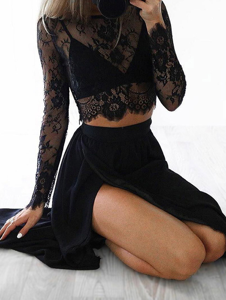 Black Delicate Sheer Lace Insert Crop Top