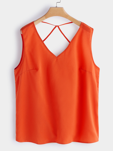 Orange Backless Design V-neck Strapped Tank Tops