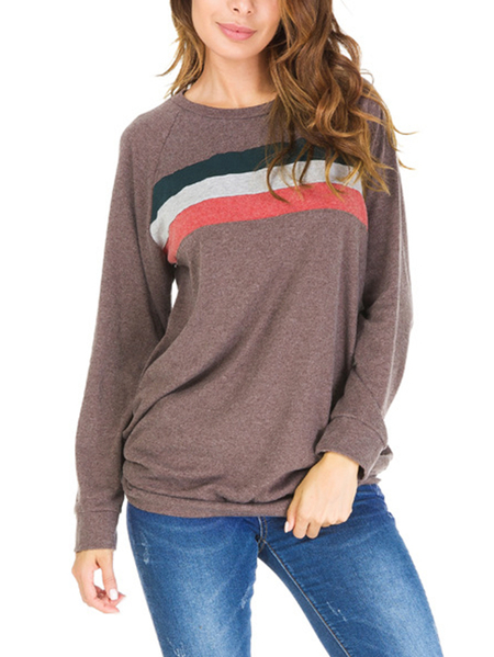 Coffee Color-stitching Pullover Long Sleeves T-shirts