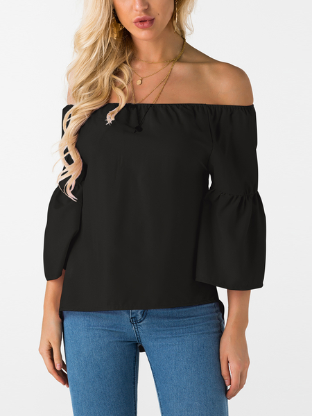 Black Off The Shoulder Flared Sleeves Blouse