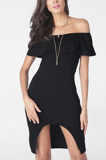 Black Off The Shoulder Irregular Hem Midi Dress