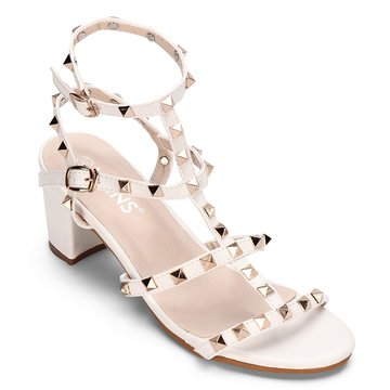 White T-bar Design Rivets Embellissement Block Heel Gladiator Sandals
