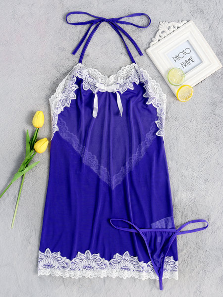 Blue Sexy Lace Details Backless Halter Pajamas