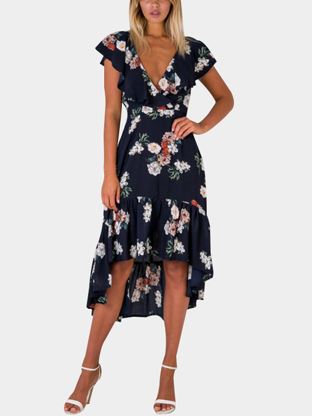 Navy Backless V-neck Random Floral Print Flounced Robe Hem