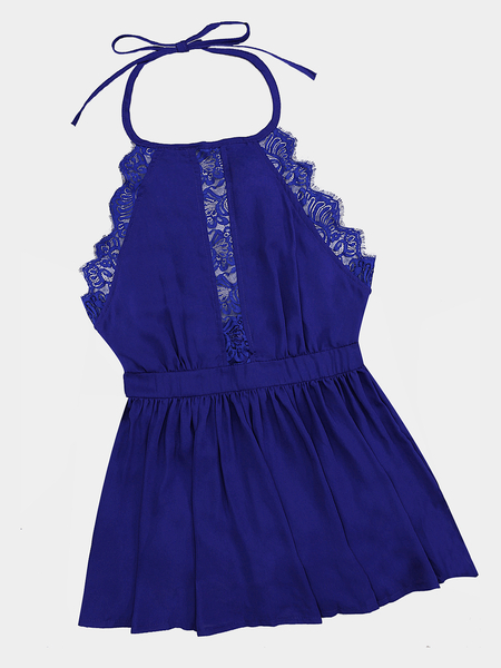 Sexy Chiffon Halter Lace Details Backless Mini Dress in Cobalt Blue