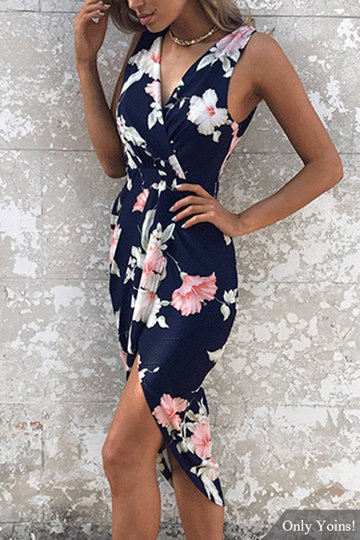 Navy Random Floral Print Sleeveless Midi Dress