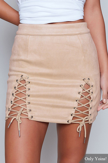 Apricot Lace-up Design Bodycon Skirt