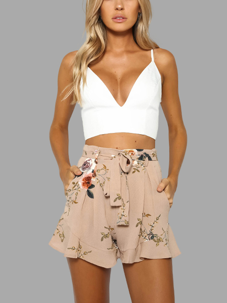 Khaka Random Floral Print High Waist Skorts with Waist Belt