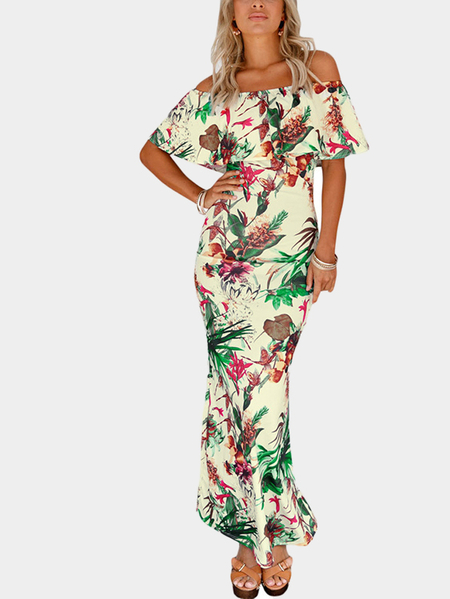 Green Random Printing Fishtail Dress With Off Shoulder