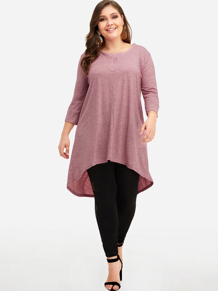 Plus Size Pink High-low Hem Top