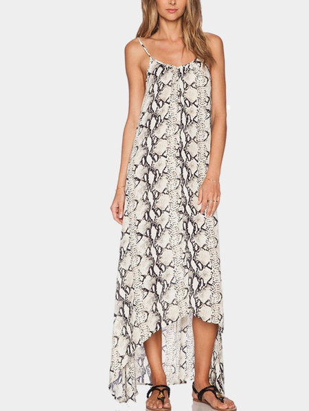 Snakeskin Print Back Cut Out High Low Hem Maxi Dress