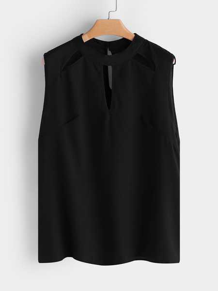 Black Hollow Out Round Neck Sleeveless Tank