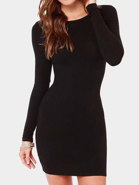Black Round Neck Long Sleeves Casual Dress