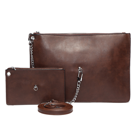 Coffee Fashion Clutch Bag with Small Bag