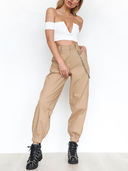 Khaki Elastic Hem Casual Pants with Chain