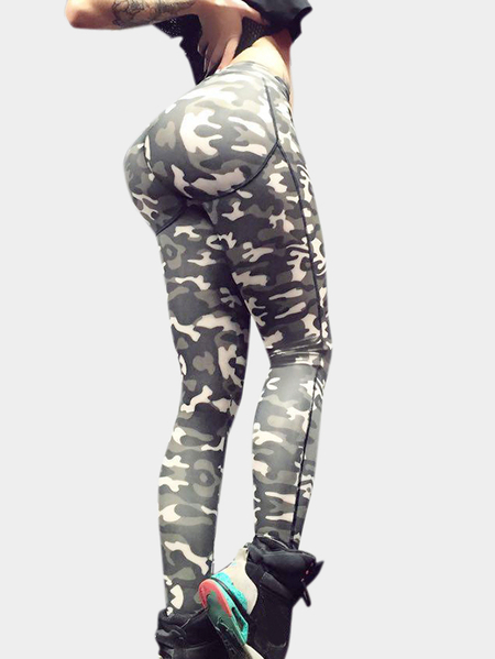 Camouflage Random Floral Print Female Leggings