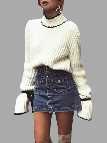 Beige Flared Sleeves Knitted Jumper