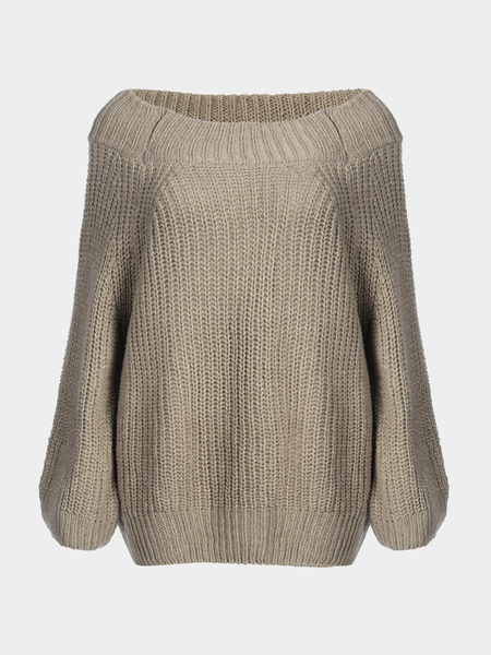 Classic Khaki Off Shoulder Long Sleeves Knit Sweater