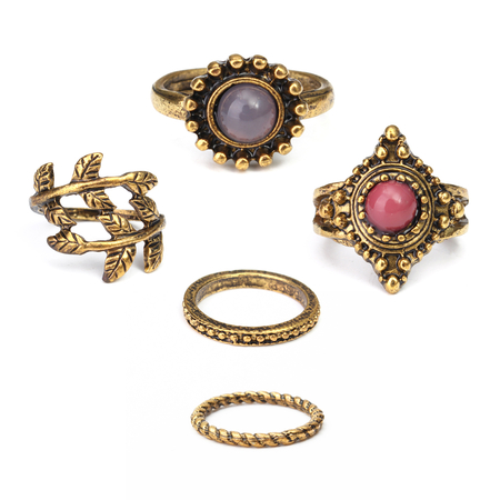 Vintage Style Bronze Carved Stone Folhas Patterns Ring Pack