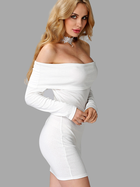 White Sexy Off-shoulder Body-con Dress