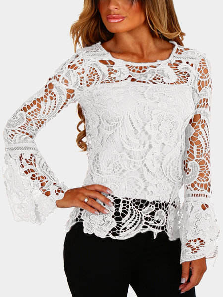 White See-through Lace Details Round Neck Long Sleeves Sexy Top