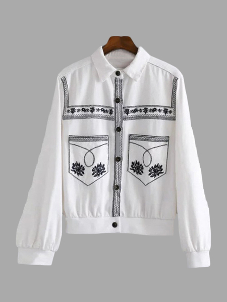 White Classic Collar Embroidery Pattern Denim Jacket