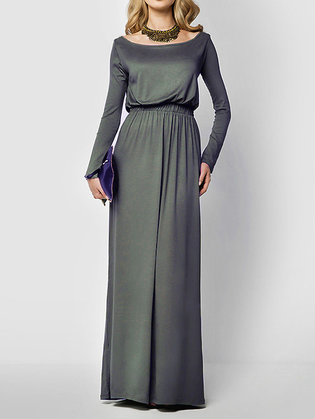 Grey Scoop Neck Elastic Waist Maxi Dress