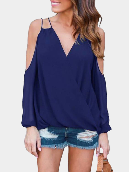 Navy V-neck Cold Shoulder Top
