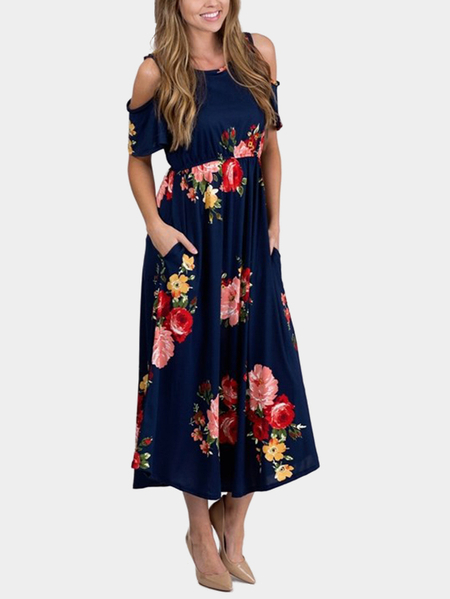 Navy Random Floral Print Cold Shoulder Maxi Dress