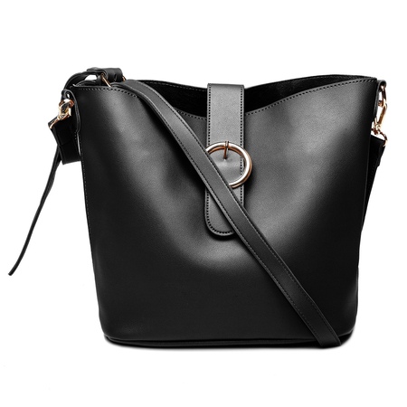 Black Buckle Design Bucket Bag with Small Clutch Bag