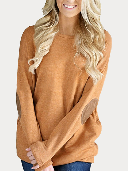 Khaki Elbow Patch Round Neck Long Sleeves Top