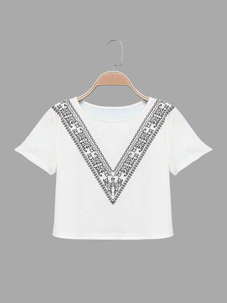 Round Neck Cropped T-shirt