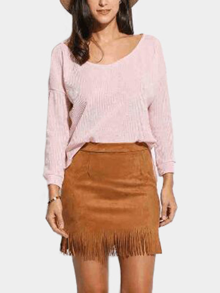 Pink Round Neck Long Sleeves Slit Hem Sweater