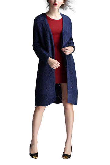 Navy Hollow out Knit Cardigan
