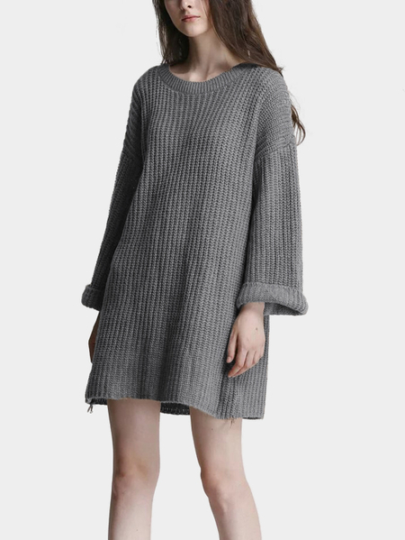 Grey Round Neck Loose Long Sleeve Sweater Dress