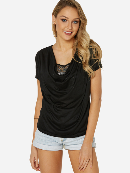 Black Sequins Embellished V-neck Drape Sagging T-shirt