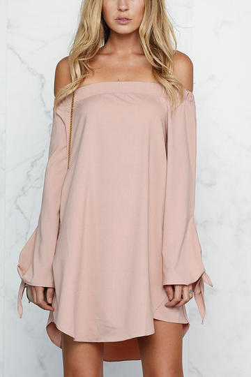 Pink Sexy Off-shoulder Mini Dress With Knot Detail