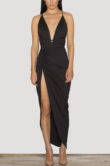Sexy Backless Side Split Bodycon Dress