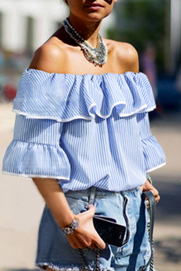 Blue Off Shoulder Tiered Design Shirt