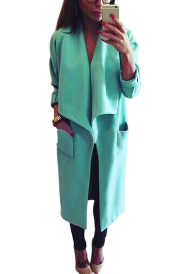 Blue Wide Lapel Pocket Duster Coat