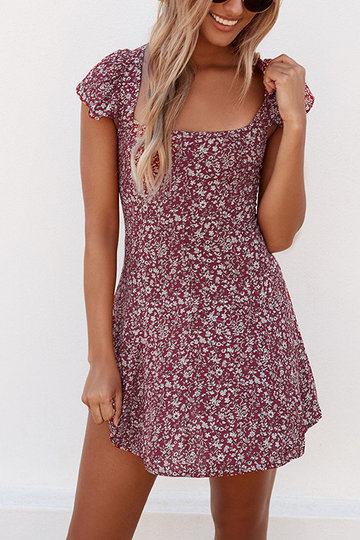 Red Lace-up Design Randon Floral Print Mini Dress